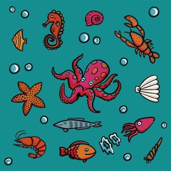 Vita marina in stile cartone animato su sfondo blu.