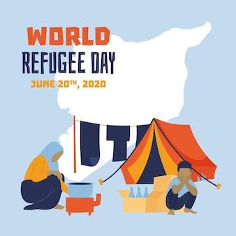 Vita nel giorno disegnato a mano del rifugiato della tenda