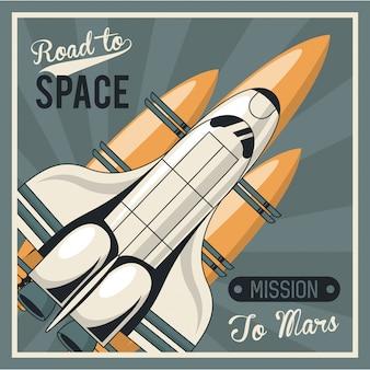 Vita nello spazio poster con astronave
