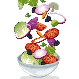 Vitamine fresche di verdure insalata di ciotola