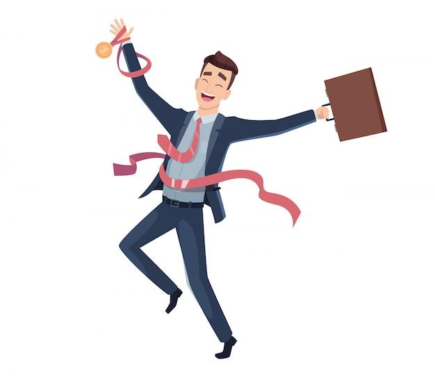 Vittoria aziendale. mascotte del fumetto di rifinitura di direzione del grande premio del carattere felice dell'uomo d'affari