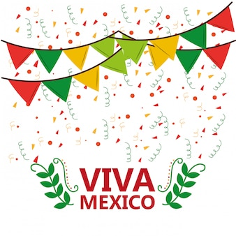 Viva mexico poster confetti ghirlanda foglie partito