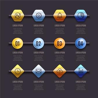 Vizualizzazione 3d di dati di marketing aziendale lucida
