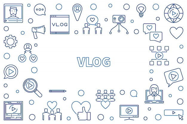 Vlog concetto linea sottile illustrazione cornice orizzontale