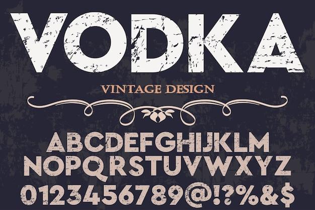 Vodka di design etichetta alfabeto