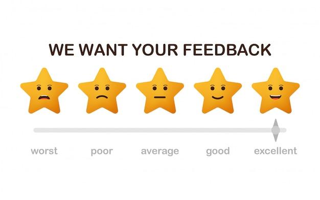Vogliamo il tuo feedback. rivedi le stelle con icone di facce felici e infelici.
