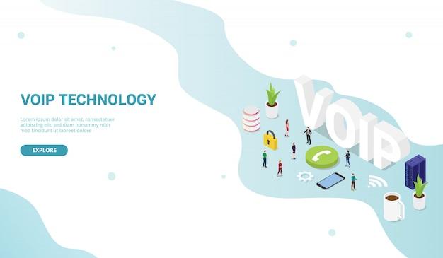 Voip voice over internet protocol concept per homepage di atterraggio di design modello di sito web