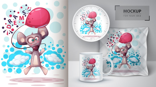 Vola mouse, illustrazione di ratto e merchandising