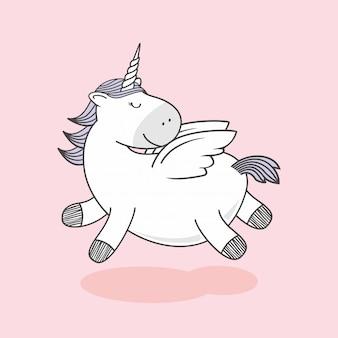 Vola unicorno doodle cartoon pegasus