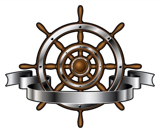 Volante della nave con banner