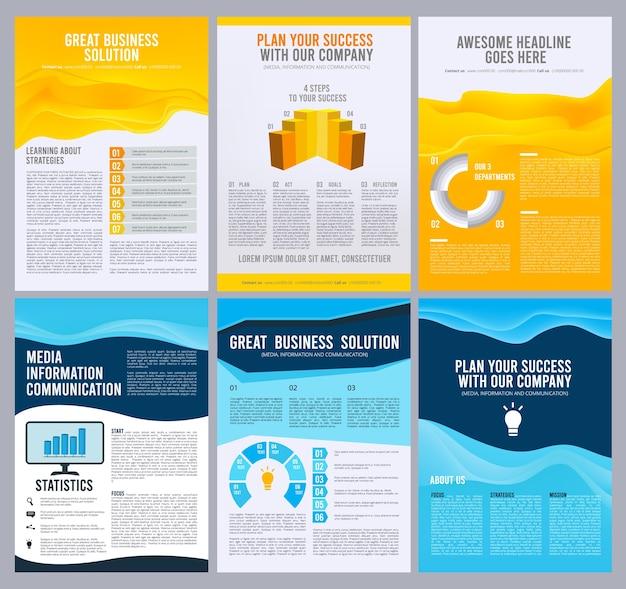 Volantini aziendali. progettazione del layout delle pagine del libretto brochure aziendale. libretto di affari corporativi, illustrazione del modello di presentazione della rivista