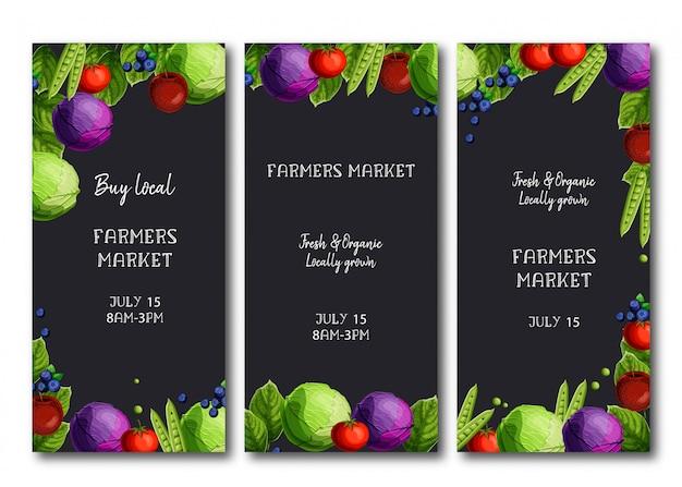 Volantini del mercato degli agricoltori, brochure con cavoli freschi, piselli, pomodori, mele e mirtilli.