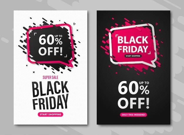 Volantini di vendita del black friday. set di banner con sconto fino al 60%