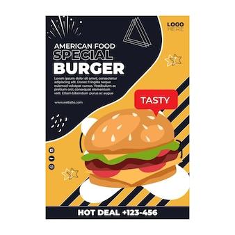 Volantino a5 di cibo americano