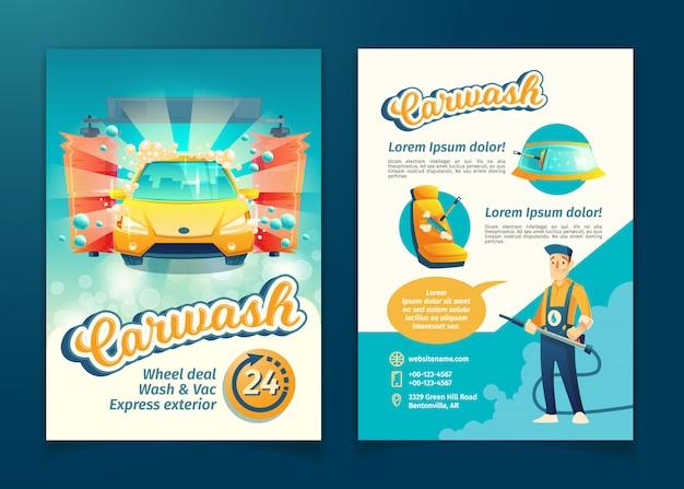 Volantino automatico per il lavaggio auto, banner pubblicitario di servizio con personaggio dei cartoni animati.