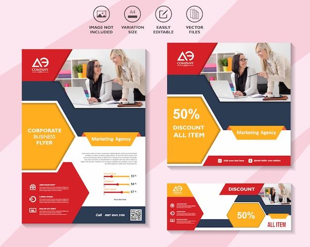 Volantino aziendale brochure modello di social media marketing