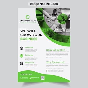 Volantino aziendale di colore verde