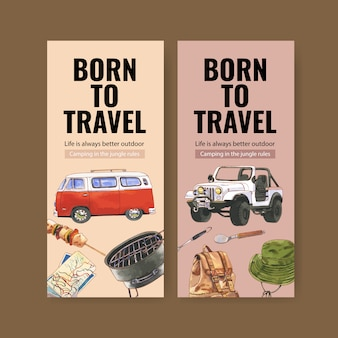 Volantino da campeggio con furgone, grill e illustrazioni per cappello da pescatore.