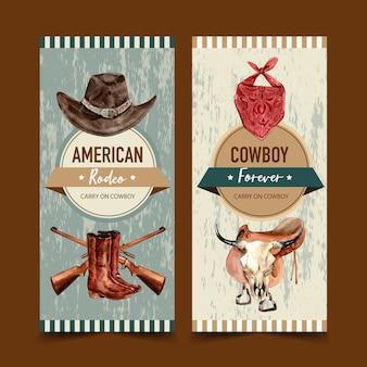 Volantino da cowboy con cappello, sciarpa, pistola, stivali, teschio di mucca