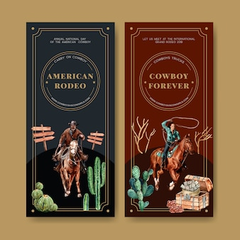 Volantino da cowboy con cavallo, cactus, petto, soldi