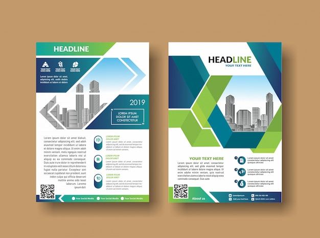 Volantino del rapporto annuale del disegno di copertina del layout