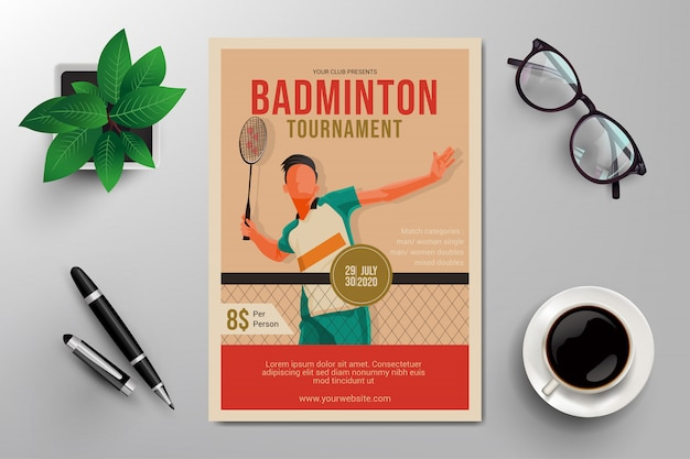 Volantino del torneo di badminton