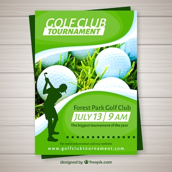 Volantino del torneo di golf in stile piano