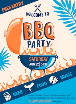 Volantino di benvenuto per barbecue di benvenuto. evento di fine settimana per barbecue estivo con birra, cibo, musica. modello di progettazione