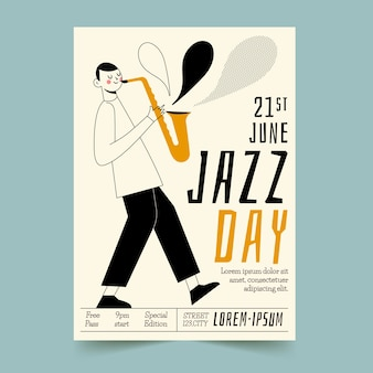 Volantino di giorno internazionale jazz disegnato a mano