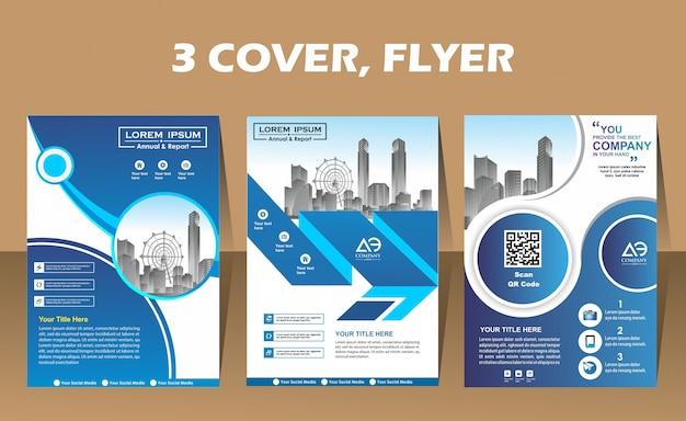 Volantino di layout di tre copertine moderne in formato a4