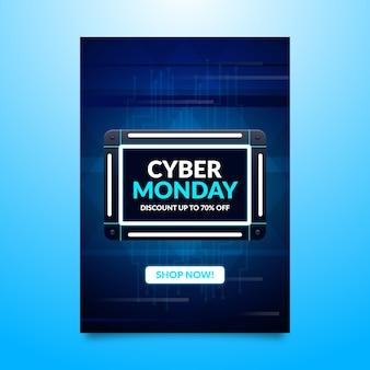 Volantino di modello piatto cyber lunedì