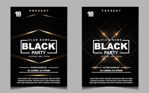 Volantino di musica dance party nero e oro notte