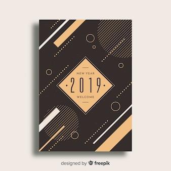 Volantino di partito geometrico nuovo anno 2019