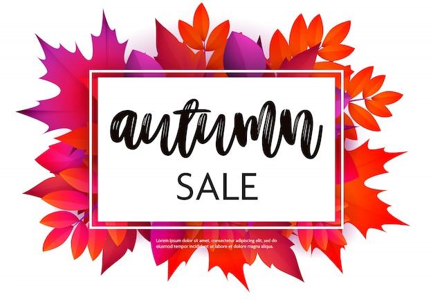 Volantino di vendita autunno con fogliame viola e rosso