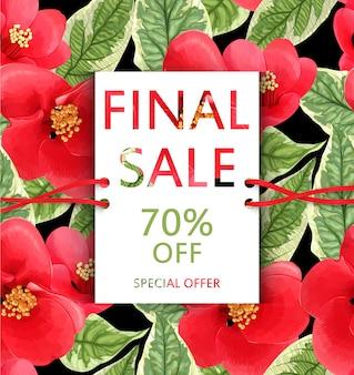 Volantino di vendita con fiori e foglie tropicali