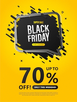 Volantino di vendita del black friday. poster colorato con sconti fino al 70%