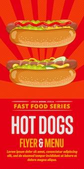 Volantino di vendita di hot dog.