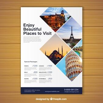 Volantino di viaggio con foto di destinazioni