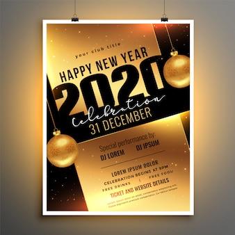 Volantino dorato o poster per il modello di festa di celebrazione del nuovo anno 2020