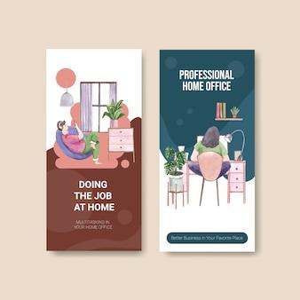 Volantino e brochure design modello con persone stanno lavorando da casa. illustrazione di vettore dell'acquerello di concetto del ministero degli interni