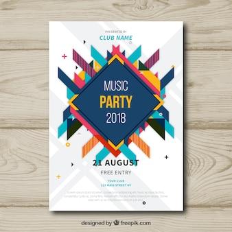 Volantino festa di musica con disegno astratto