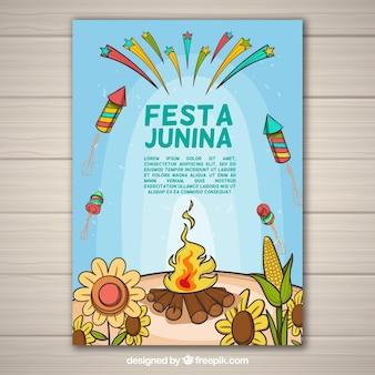 Volantino festa junina con elementi tradizionali