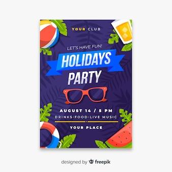 Volantino festa piatta estate tropicale