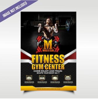 Volantino gym nero grassetto e scolpito con quattro punti di servizio