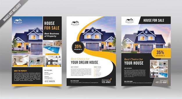 Volantino immobiliare o modello di progettazione opuscolo. agente immobiliare