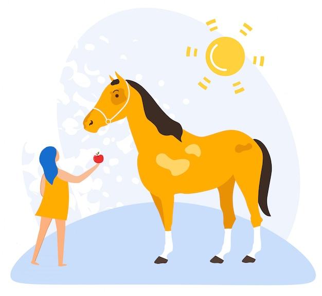Volantino informativo amore per cavalli cartoon piatto.