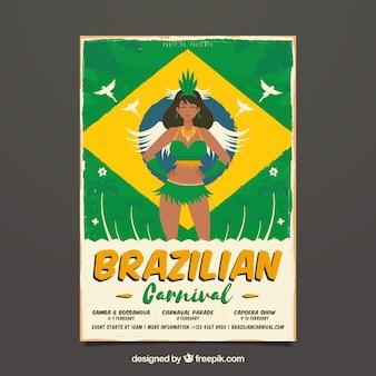 Volantino / manifesto del partito di carnevale brasiliano piatto
