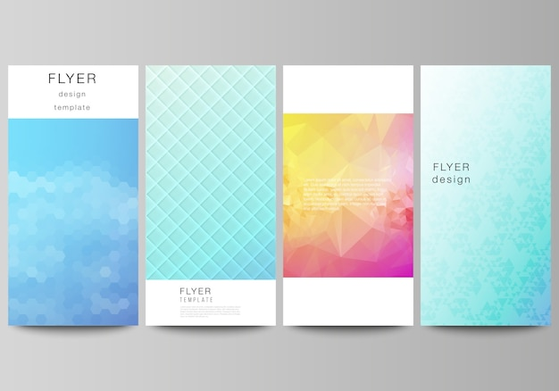 Volantino, modelli di banner design. motivo geometrico astratto con sfumatura colorata