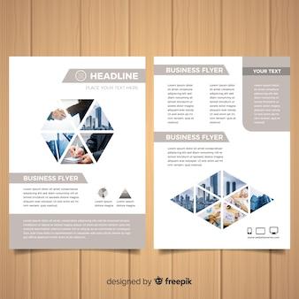 Volantino moderno di affari con mosaico di foto