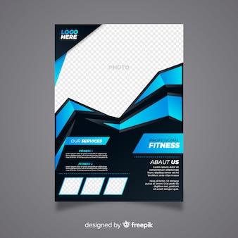 Volantino moderno fitness con disegno astratto